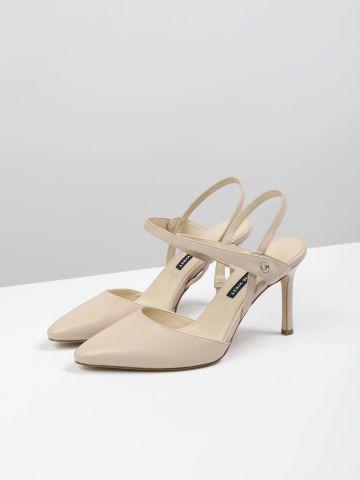 נעלי עקב סטילטו עור עם קצה מחודד