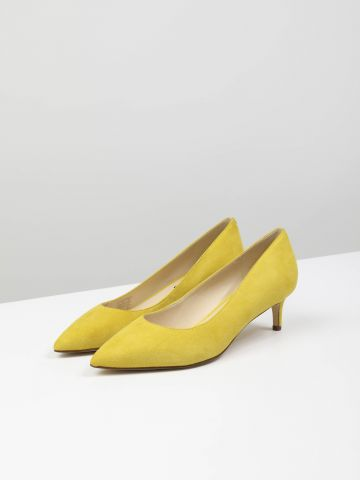 נעלי עקב עור עם קצה מחודד