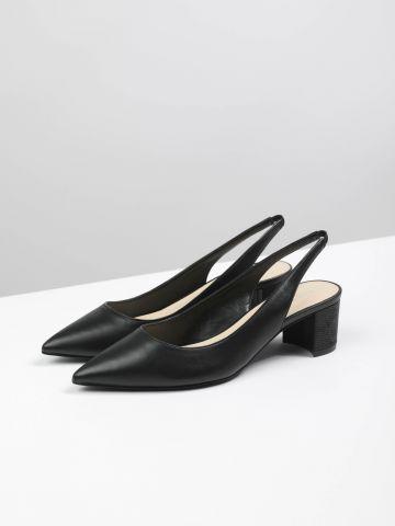 נעלי עקב דמוי עור מחודדות