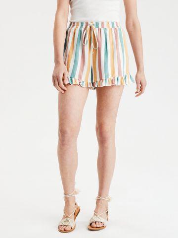 מכנסיים קצרים בהדפס פסים עם מלמלה