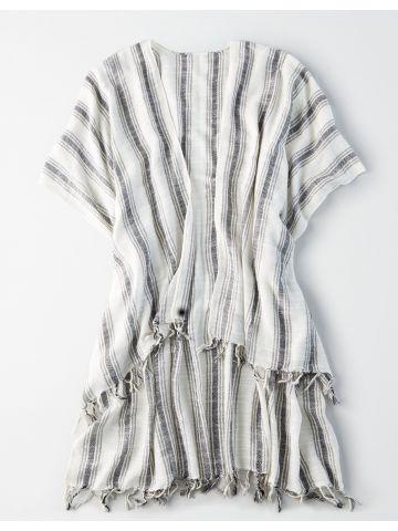 קימונו בהדפס פסים עם גדילים / נשים