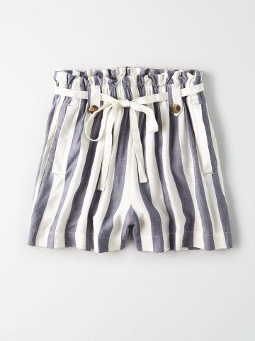 מכנסי פייפרבאג קצרים בהדפס פסים / נשים