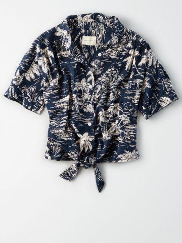 חולצת קשירה בהדפס עצים / נשים