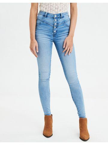 ג'ינס בגזרה גבוהה עם ווש וכפתורים Highest Rise Jegging