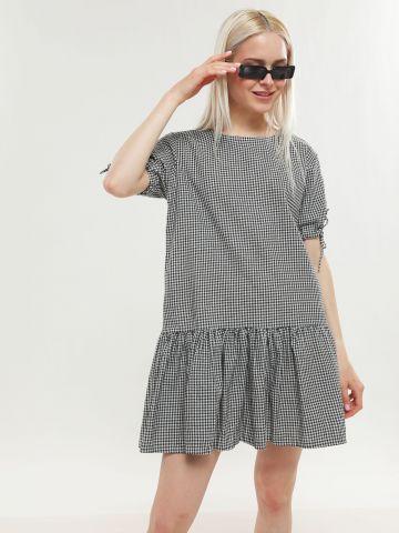 שמלת מיני פפלום בהדפס משבצות