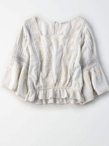 חולצת קרפ ארוכה עם עיטורי רקמה / נשים