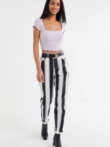 ג'ינס MOM בהדפס פסים BDG