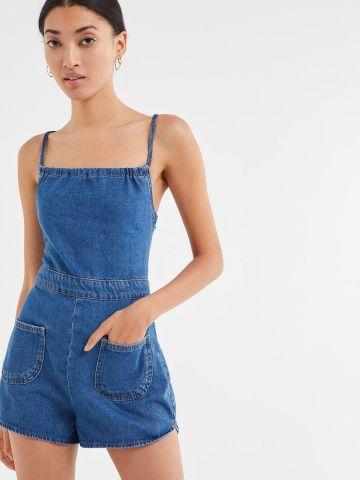 אוברול ג'ינס קצר עם רצועות בגב BDG