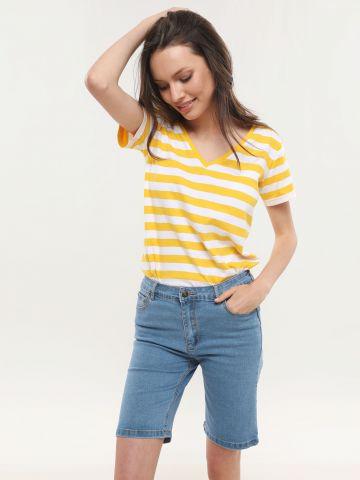 ג'ינס ברמודה סקיני בשטיפה בהירה