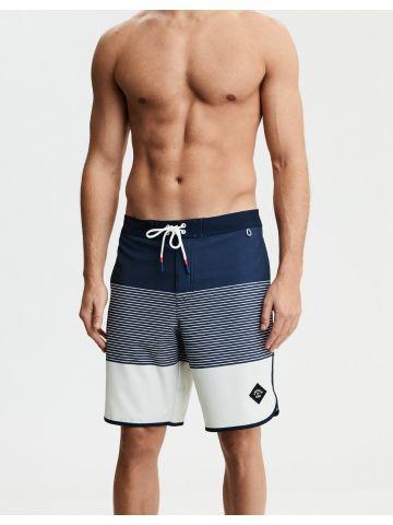 מכנסי בגד ים קולור בלוק עם פאץ' לוגו