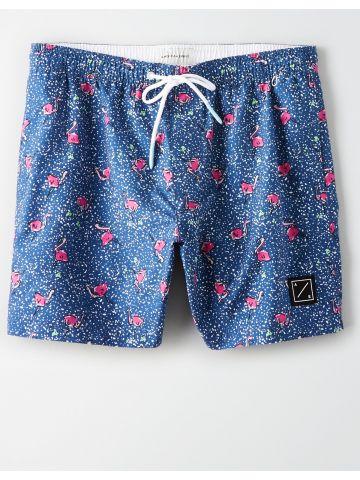 מכנסי בגד ים בהדפס פלמינגו ונקודות / גברים