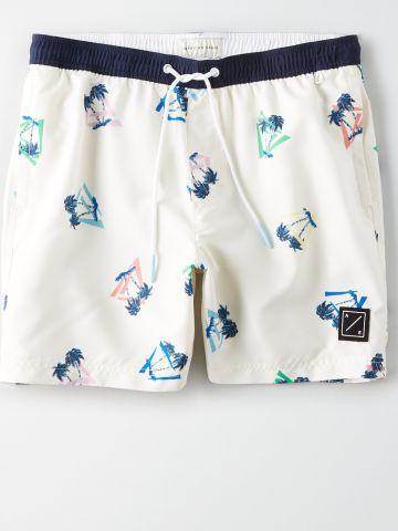 מכנסי גלישה קצרים בהדפס עצים / גברים