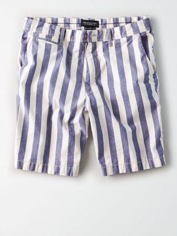 מכנסי צ'ינו קצרים בהדפס פסים / גברים