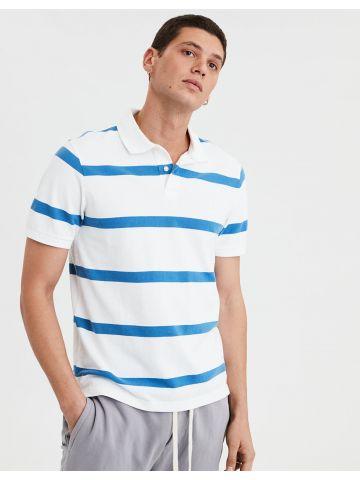 חולצת פולו בהדפס פסים עם רקמת לוגו