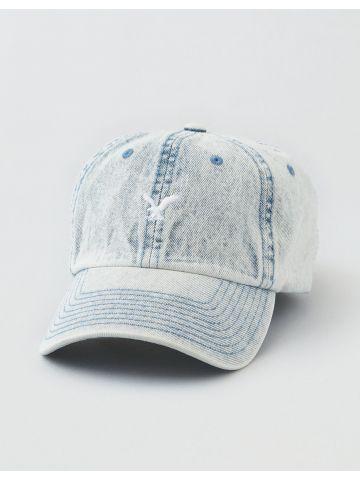 כובע מצחייה ג'ינס עם ווש ורקמת לוגו / גברים