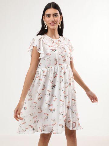 שמלת מיני בהדפס פרחים עם מלמלה