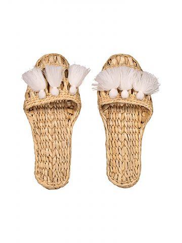 נעלי בית קש בעיטור פרנזים