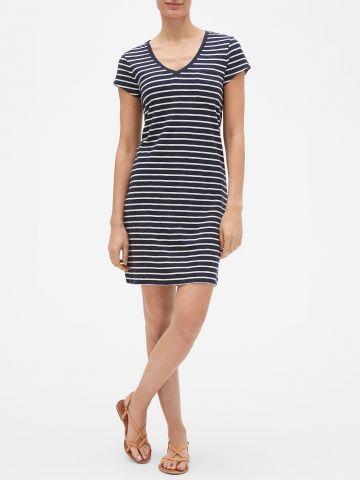 שמלת טי שירט מיני בהדפס פסים