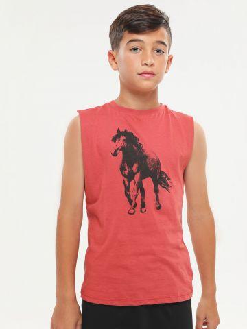 גופייה עם הדפס סוס
