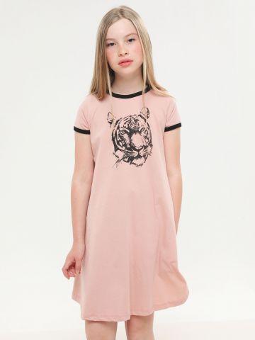 שמלת טי שירט עם הדפס נמר