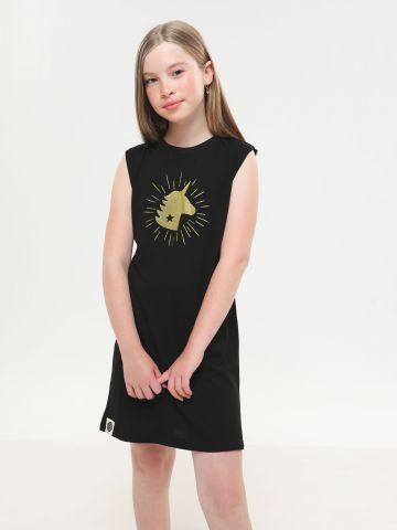 שמלת מיני עם הדפס יוניקורן