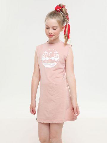 שמלה ללא שרוולים עם הדפס פלמינגו