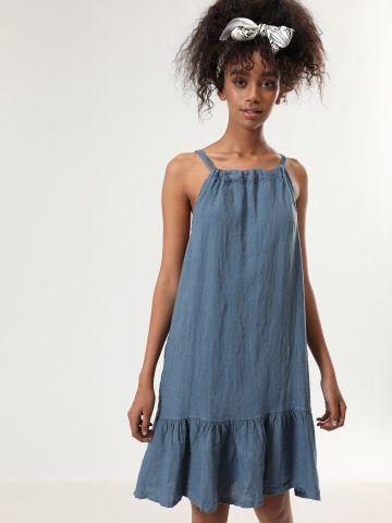 שמלת פשתן מידי עם סיומת פפלום