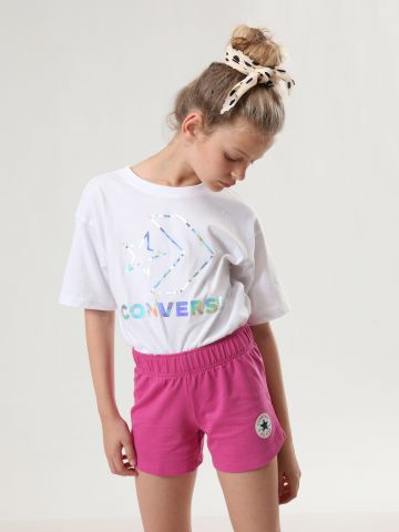 מכנסיים קצרים עם הדפס לוגו