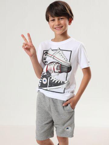 מכנסי טרנינג ברמודה עם הדפס לוגו