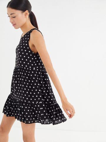 שמלת מיני קומות מלמלה בהדפס נקודות UO