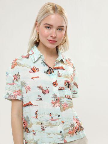 חולצה מכופתרת בהדפס טרופי עם שרוולים קצרים