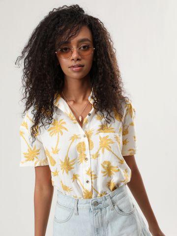 חולצה מכופתרת בהדפס פרחים עם שרוולים קצרים