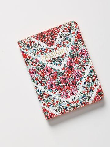 כיסוי דמוי עור לדרכון בהדפס פרחים
