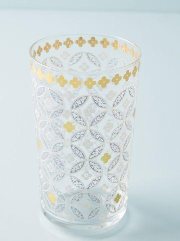 כוס זכוכית עם עיטורי פרחים וזהב