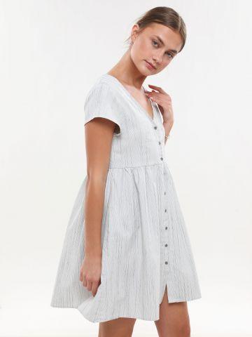שמלת מיני פליסה בהדפס פסים