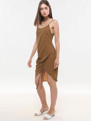 שמלת מיני משבצות עם שרוך כיווץ