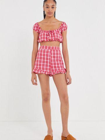 מכנסיים קצרים בהדפס משבצות UO