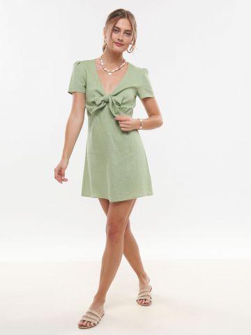 שמלת מיני פשתן עם קשירה