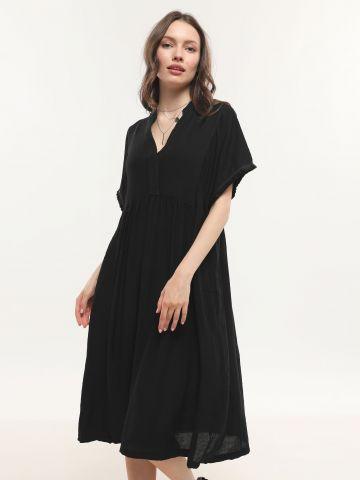 שמלת מידי קרפ עם שרוולים רחבים
