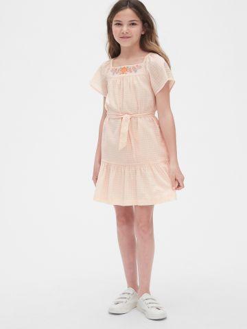 שמלה בהדפס משבצות עם רקמה