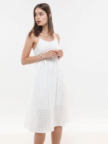 שמלת מידי עם עיטורי רקמת פרחים מחוררים