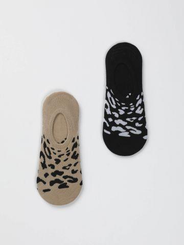 מארז 2 זוגות גרביים נמוכים עם הדפס חברבורת נמר/ נשים