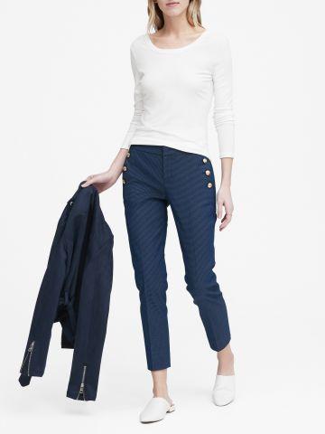 מכנסיים מחויטים בהדפס נקודות Avery Straight-Fit / נשים