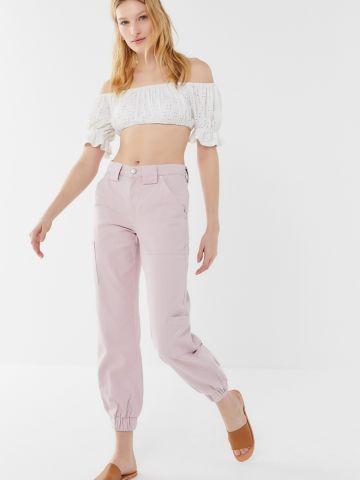 ג'ינס בגזרה גבוהה עם גומי בסיומת BDG