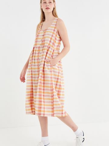 שמלת מידי בהדפס משבצות UO